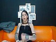 Tattooed Shemale Jerking Her Dick