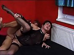 Mature brunette Aneth sucks cock of blonde male before riding him