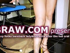 Guy Fucks Bareback Ladyboy Lanta