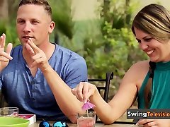 Swinger guy shows how good lover he is by kissing
