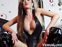 Latex loving Asian matador 2 female teases before toy fucking
