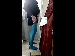 sounding my cock and cum crossdressed