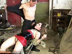 Small cock tranny in latex dress gets fucked in bondage
