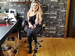 German Girl unboxing new High Heels