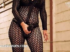 Suck the fat BBC Strapon from your Spandex Catsuit Mistress