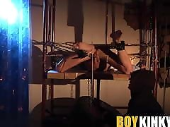 Tiny twink Chris Jansen spanked on balls and feet by mysteri