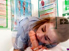 Seductive nurse in 2wej jw takes out her boobs and gives a good blowjob