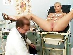 Busty Alexa Bold gyno exam and tits bondage at kinky clinic