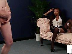 Black sleep sxy girl Brit Instructs Sub On How To Jerk