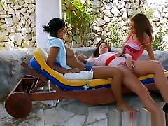 Lesbian threesome licking bodies hot