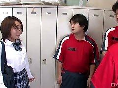 Three students fuck face of pretty hot Japanese teen Yuu Shilaishi in the step bro slept room
