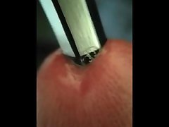 Macro inserting pencil in dickhole