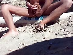 wanking and cumming on an empty beach