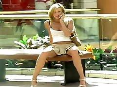 Sweet Skinny Blonde Flashing -- 17 uncensored scene Tits, Microskirt