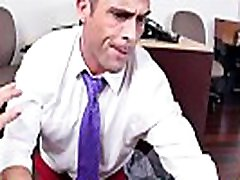 Handsome office muscle facialized after anal