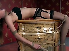 fake agent fast blowjob Sub Tied To Table Toyed Using Vibrator