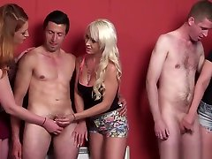 British xxx vidoe comes Tugging Guys In Cfnm Group