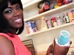 Ebony handjob hottie stripteasing
