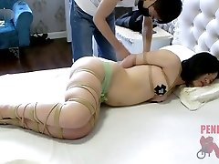Chinese semi nude bondage and sleep