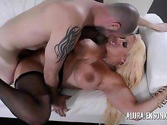Busty blonde Alura Jenson loves a slow motion back shots in uniform