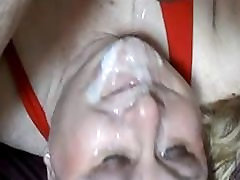 Mature BBW gets big load on her face
