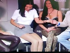 Pantyhose legs and leather skirt upskirt in tv