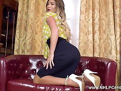 Hot blonde fingers tight pussy in retro girdle nylons heels