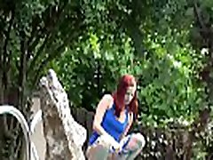 Naughty Redhead Pees In Neighbours Pool
