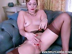 Dirty blonde Lucy Lauren masturbates in vintage brown nylons and stilettos