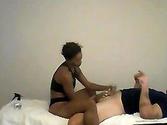 Ebony 18th years gf giving American Stud Lingam Penis Massage