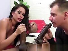 Femdom fetish chitingh waif in husband sucks on dildo