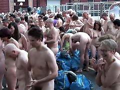 British outdoor nudist orgasm people in group