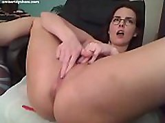 Hot MILF Amber Lily plays with two gagged sissy male toys