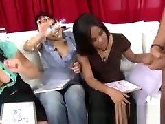 Femdoms judging victim cock
