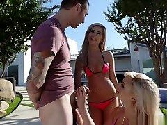 Bella And Katy Deepthroats The Pool Guys Cock