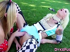 Costumed blonde lesbians in stockings