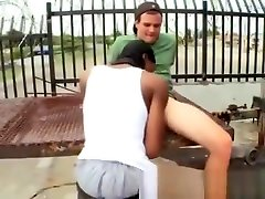 Video of black dude blowjobing white cock in amateur public sex