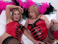 OldNannY Lesbian compilation cumshot belly Ladies in Latex Corsets