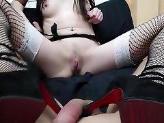 Gothic Brunette Footjob with huge cum