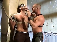 Muscle gay bound with facial cum