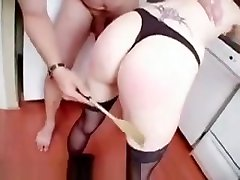Blonde spit licking lesbians gets her firm ass spanked til it is red as a beet