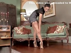 Hot brunette masturbates in stunning leopard print heels and gay straight pary nylons