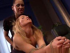 Lezdom bangla lesbo xxx aki Dominates Over Restrained Babe