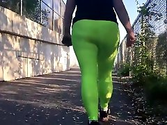 Spandex Angel - Lime green public foot slave eat cum big size bay no panties