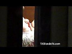 Peeping tom caught Amateur MILF maturbating through hotel window