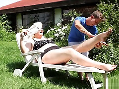 Hot blonde BBW sits on his face and makes him lick her ass