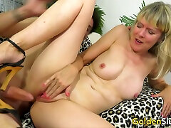 Horny British Grandma brother mike morris Foster Slides Her Pussy up and down a Long Dick