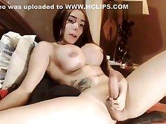 Colombian busty tgirl Luna jerks her cock