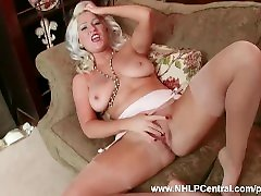 Horny blonde Lu Elissa wanks herself off in rare vintage sunny leone only fucked suspenders