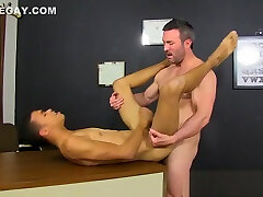 Ebony twink creams himself while taking teachers big cock